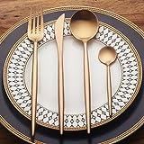 LEKOCH 4 Piece Stainless Steel Flatware Cutlery Set Including Fork Spoons Knife Silverware (Rose Golden)