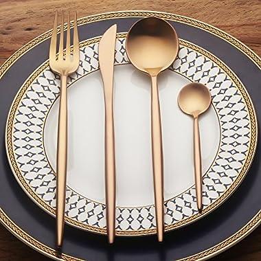 LEKOCH 4-Piece Stainless Steel Flatware Set Including Fork Spoons Knife Tableware (Rose Golden)