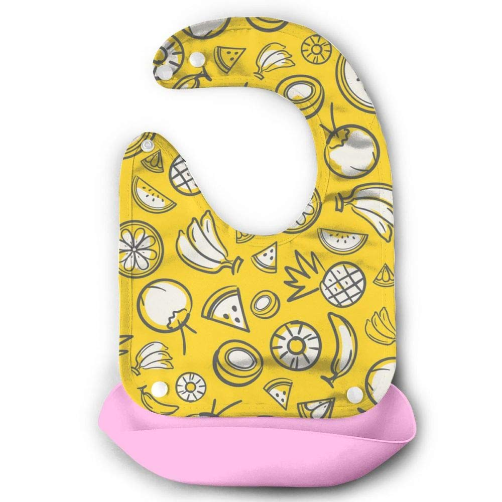 W3Zap1 Colorful Sketch Mixed Fruits Waterproof Silicone Baby Bibs Easily Wipes Clean Comfortable Soft
