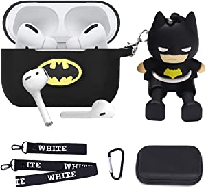 Maxjoy Compatible Airpods Pro Case Cover, Cute Cartoon Case Silicone Protective Cover with Neck Lanyard Keychain Compatible with Apple Airpods Pro 3 Wireless Charging Case for Girls Teens Boys, Black