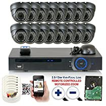 GW Security 1080P HD-CVI 16 Channel DVR Security Camera System - Sixteen 2MP Wateproof Sony Cmos 2.8-12mm Motorized Zoom Varifocal Dome Cameras, 36-IR LED 100ft Night Vision, Pre-Installed 4TB HDD