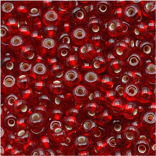 Jablonex Czech Seed Beads, 1-Ounce, Size 6/0, Ruby Red Silver -