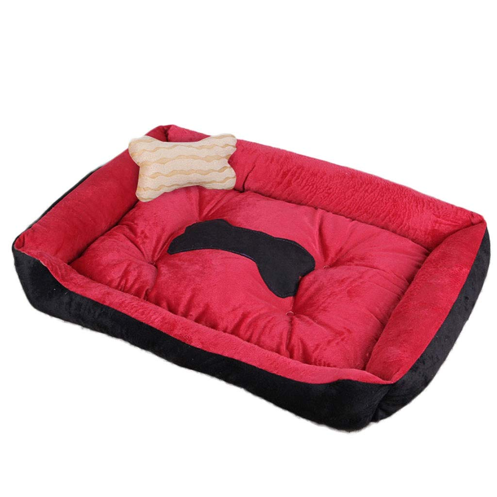 Red 120×90cm red 120×90cm Hidog A++ Bone Square Pet Nest, Large Medium Small Dog Teddy Cat Dog Bed, Short Plush Pet Supplies Non-slip Mat (color   Red, Size   120×90cm)