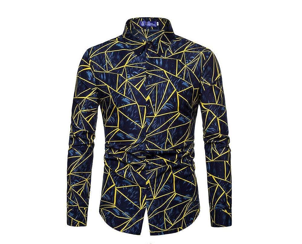 Mens Long Sleeve Trendy Print T-Shirt Shirt Polo Slim Shirt Casual Top