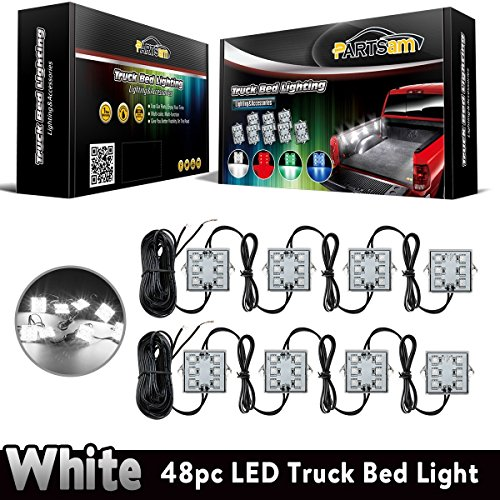 Partsam Universal Waterproof White LED Truck Bed/Rear Work Box Lighting Kit Trunk Light for 1994-2010 Dodge Ram 1500 2500 3500