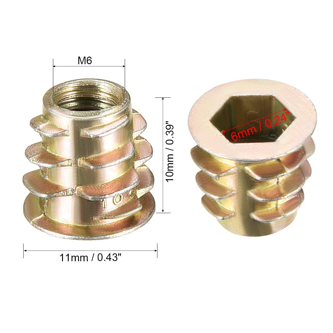 50pcs M6x10mm Threaded Insert Nuts Zinc Alloy Hexagonal M6 Internal Threads 10mm Length