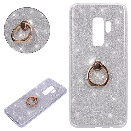 Price comparison product image Galaxy S9 plus Case,IKASEFU Ring Holder Shiny Kickstand Back Shockproof Luxury Glitter Sparkly Bling Cute Soft TPU silicone Thin Bumper Protective Cover for Samsung Galaxy S9 plus,silver