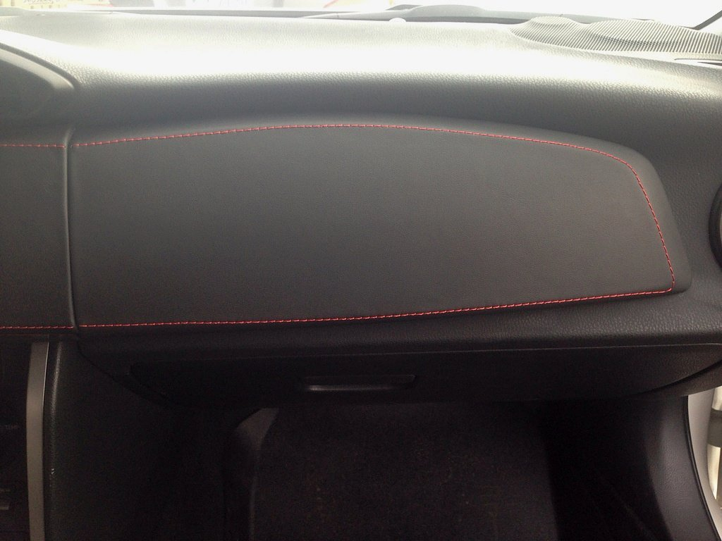 RedlineGoods Dash pad Cover Compatible with Scion FR-S 2012-16 Black Leather-Red Thread