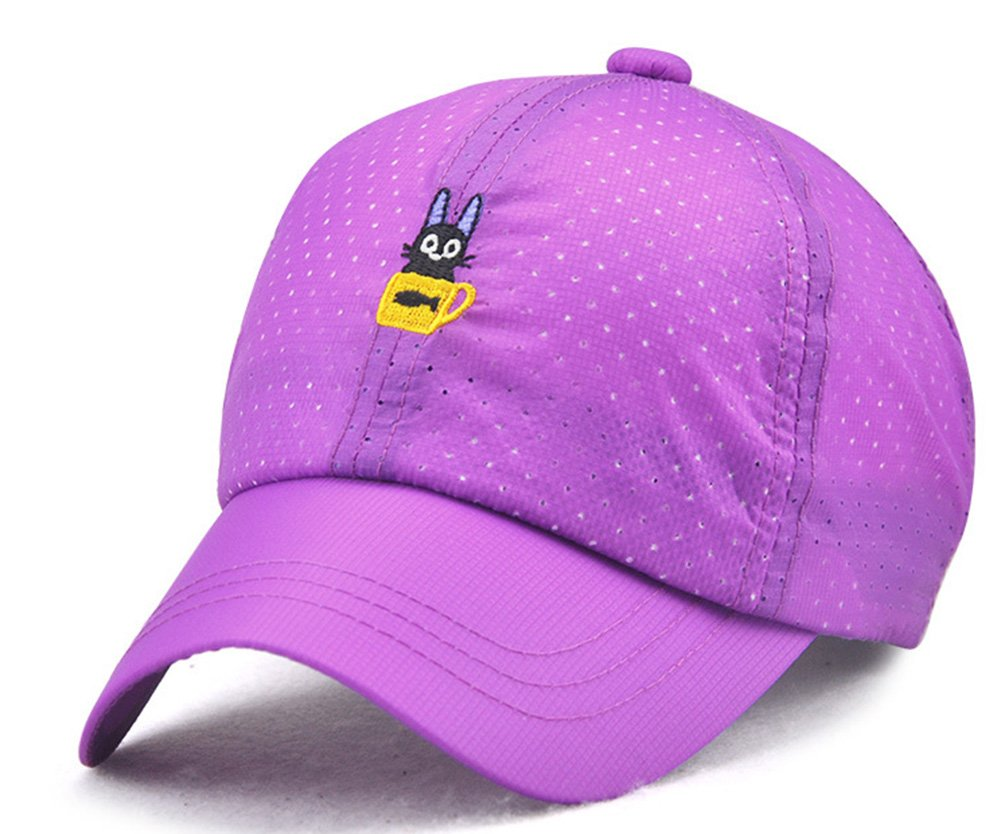 Roffatide Cat Embroidery Baseball Cap Kids Sun Hat Girls Peaked Cap Boys Adjustable Breathable Summer Hat Quick Dry Violet