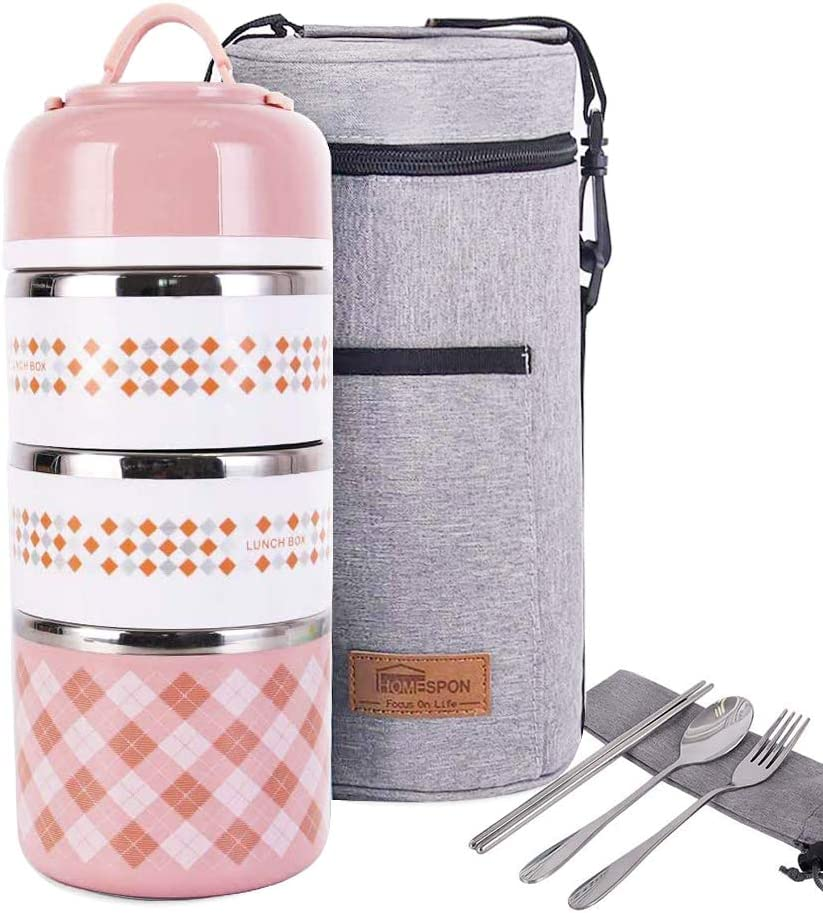 Lunch Box Stainless Steel Food Containers 3 Stackable Square Bento Box with Insulated Lunch Bag Spoon and Fork Set for School Office Or Picnic (Light Pink)