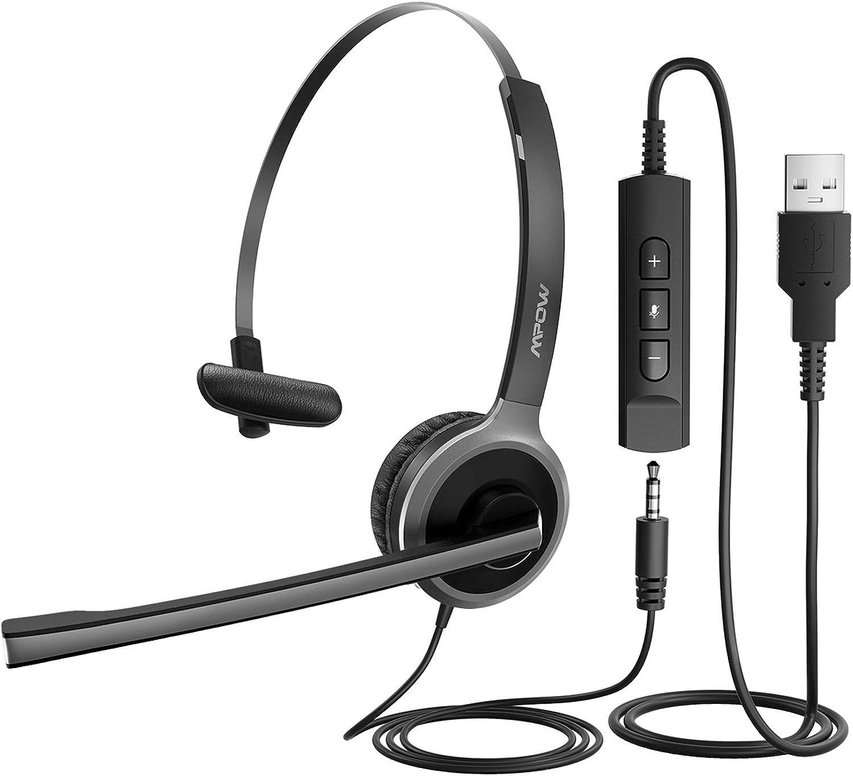 Mpow Auriculares USB de una Cara con Micrófono, Auriculares para Computadora en la Oreja para PC, Auriculares para Centros de Llamadas