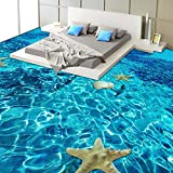 Ohcde Dheark 3D Stereo Sea Starfish Flooring Wallpaper Bedroom Bathroom Pvc Self Adhesive Waterproof Wear 3D Floor Tile Mural 250Cmx175Cm(98.4 By 68.9 In )