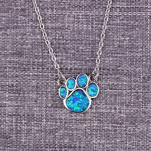 KELITCH Puppy Footprint Pendant Necklace Shiny Created Opal Y Shape Choker Necklace Gift for Friends (Blue) by KELITCH (Image #2)