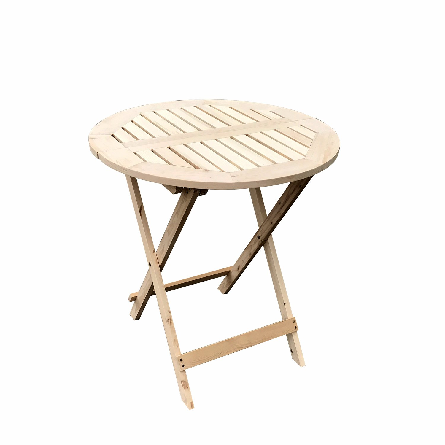 UHOM Wooden Round Folding Table Outdoor Patio Portable Side Table Furniture Set Natural Color