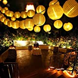 Qedertek Solar Fairy Lights Chinese Lanterns 19.7ft 30 LED Outdoor Solar String Lights for Home, Lawn, Yard, Patio, Garden Decorations (Warm White)
