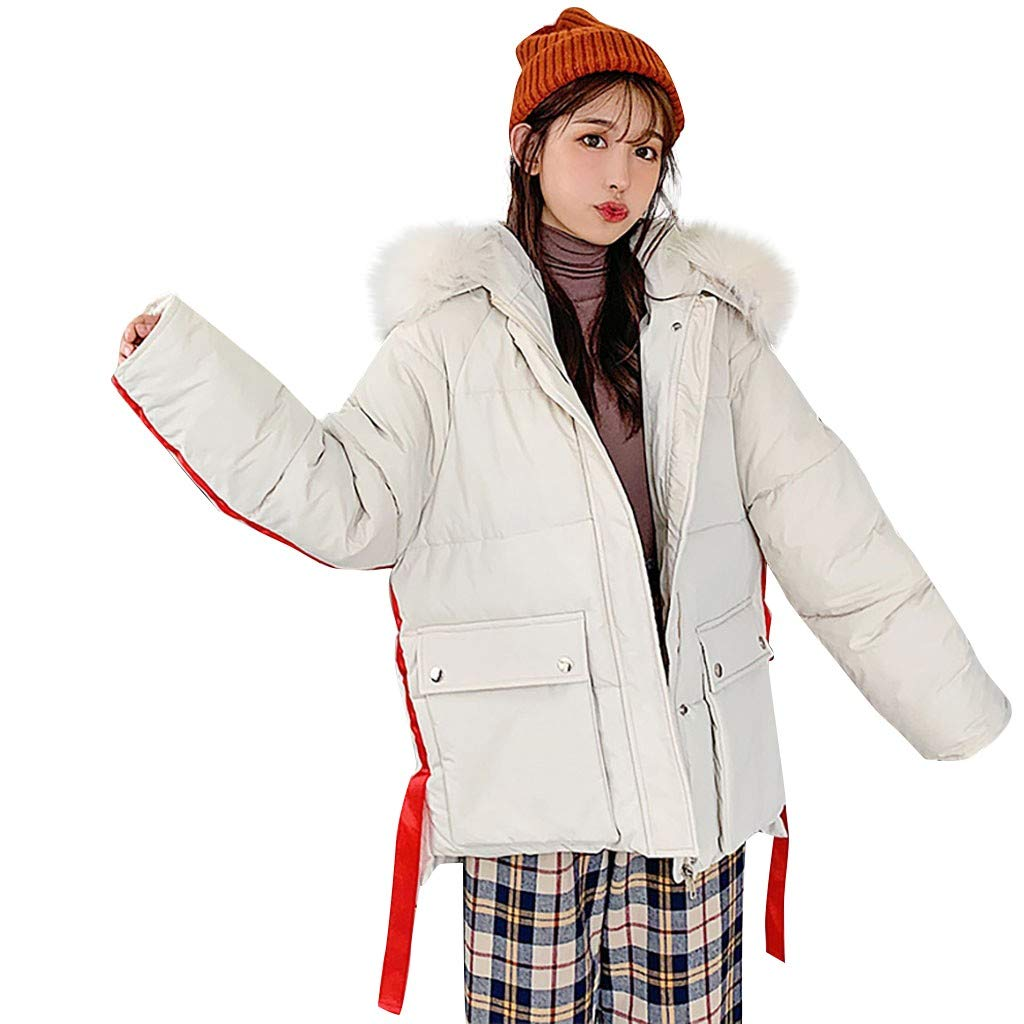 Vintress Women Winter Warm Faux Fur Hooded Short Slim Cotton-Padded Jackets Coat Casual by Vintress
