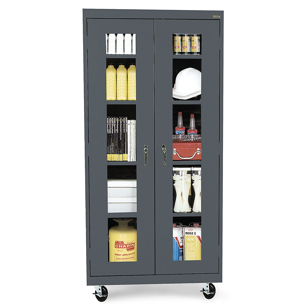 Sandusky Lee TA4V361872-02 Elite Series Transport Mobile Clear View Storage Cabinet, Charcoal