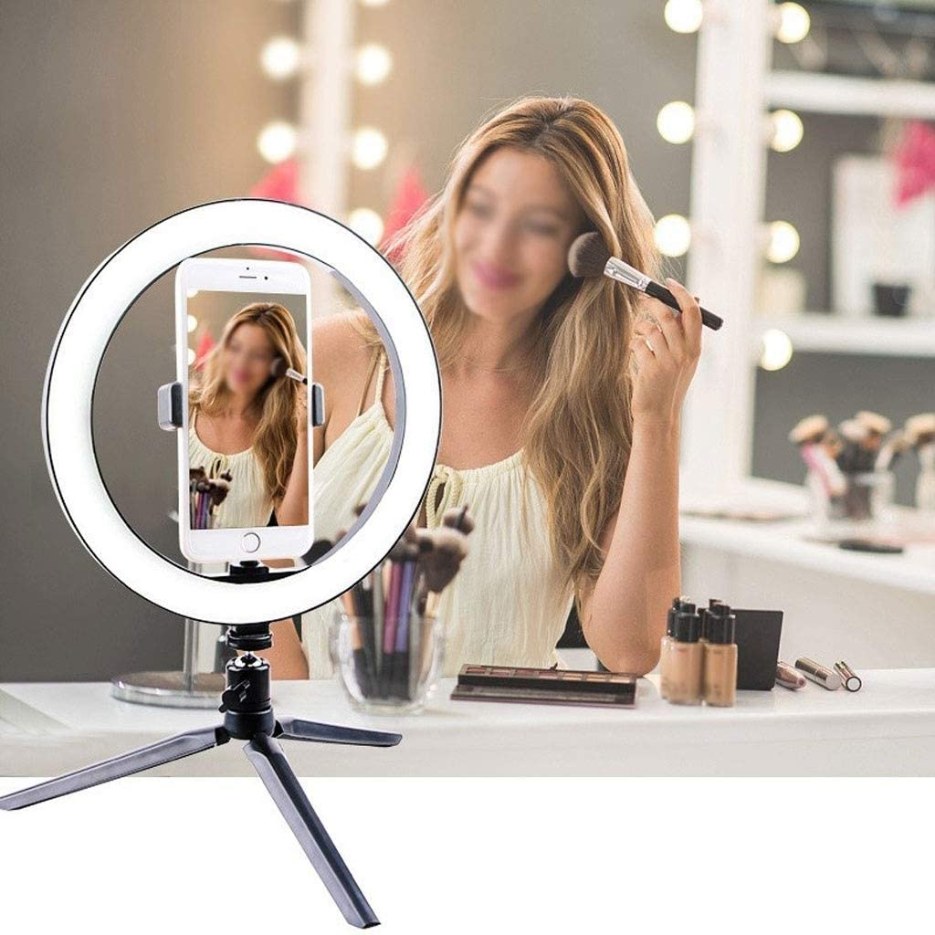 Phone Holder Selectable JYEMDV 16cm//20cm//26cm LED Desktop Ring Light with Tripod USB Power Supply 3 Light Mode Fill Light Color : G