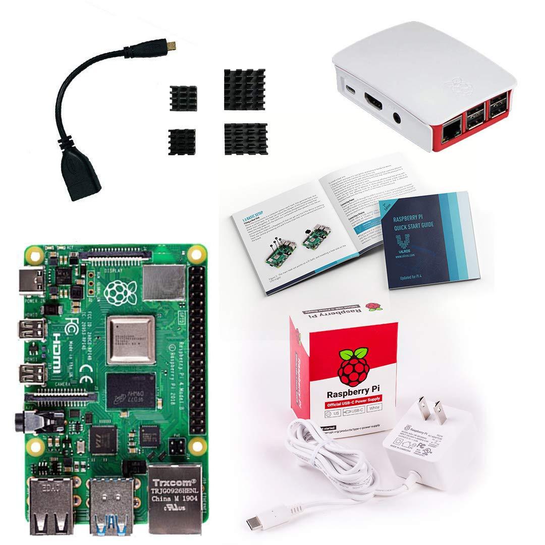 Vilros Raspberry Pi 4 Basic Starter Kit with Official Case (Red/White) (2GB)