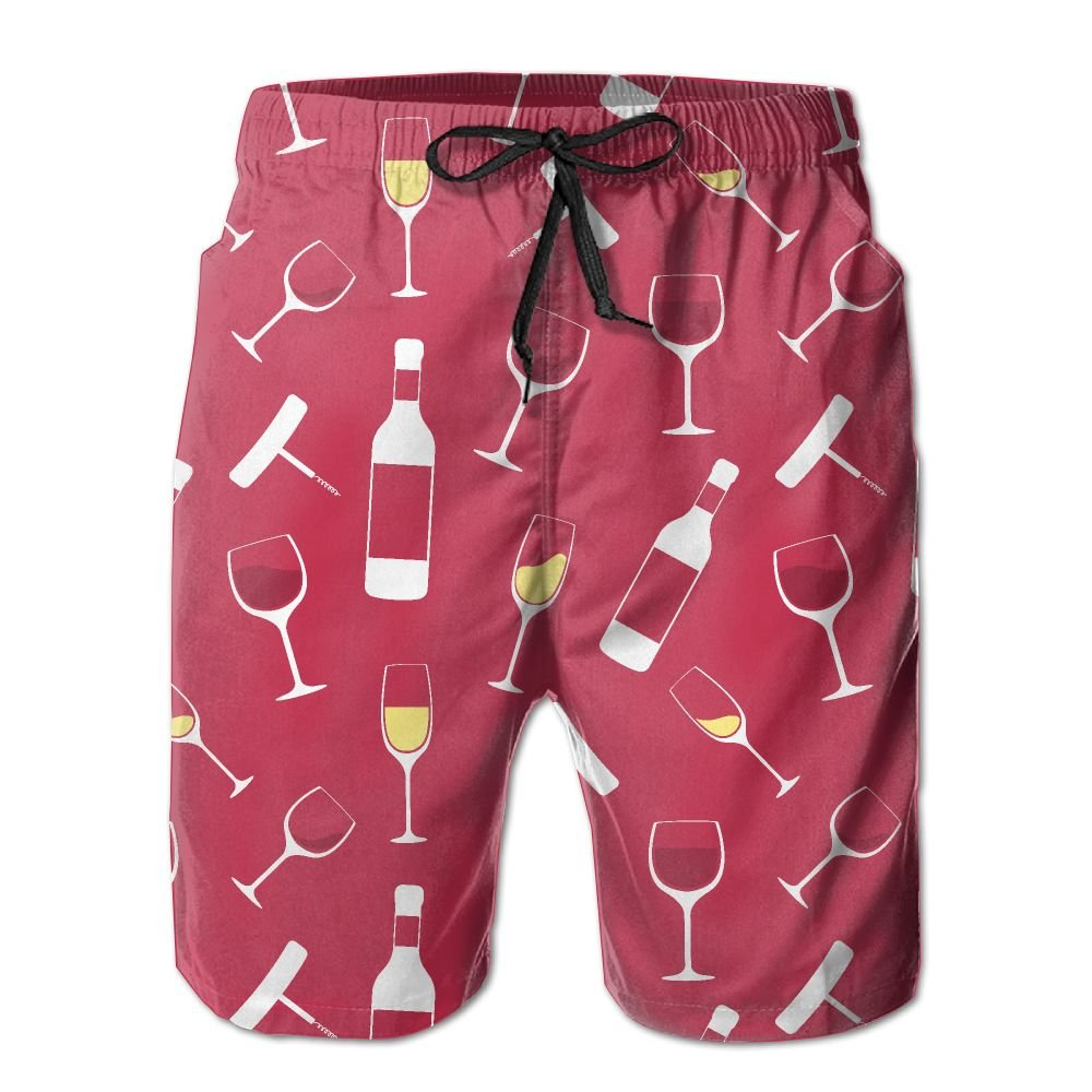 NGFF Champagne and Wine Glasses Summer Casual Style Adjustable Beach Home Sport Shorts