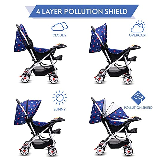 Little Olive Tweety Stroller Pram - Pollution Shield and Musical Food Tray - (Blue Stars) for Newborn Baby/Kids Stroller/Pram, 0-3 Years