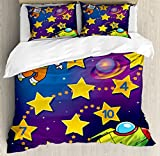 Kid's Activity Duvet Cover Set Queen Size by Ambesonne, Space Themed Educational Numbers Game Astronaut Reaching to the Spaceship, Decorative 3 Piece Bedding Set with 2 Pillow Shams, Multicolor