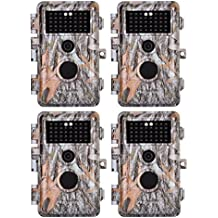 "BlazeVideo 4-Pack HD 16MP 1080P Game Trail Deer Cameras Hunting Wildlife Animal Camera No Glow Infrared Motion Sensor Activated IP66 Waterproof with 65ft Night Vision 38 IR LEDs Video Record 2.4"" LCD"