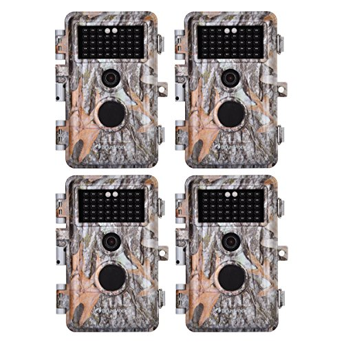 BlazeVideo 4-Pack HD 16MP 1080P Game Trail Deer Cameras Hunting Wildlife Animal Camera No Glow Infrared Motion Sensor Activated IP66 Waterproof with 65ft Night Vision 38 IR LEDs Video Record 2.4 LCD