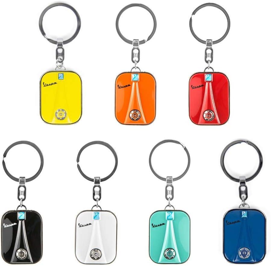 LIWIN Moto Accessoires 7 couleurs en acier inoxydable Keychain Porte-cl/és for Scooter Piaggio VESPA GTS GTV LX PX LT Sprint Primavera GTS300 150 250 Keyring Color Name : BLACK