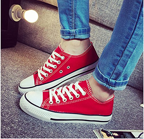 Summerwhisper Damesschoenen Met Lage Top Plimsoll Platte Canvas Sneakers Lace Up Rood