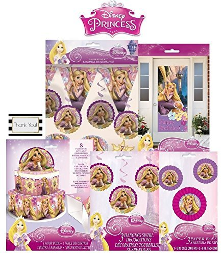 Tangled Decoration Kit - 2 Honeycomb Decorations - 7 Hanging Swirls - 3 Paper Fans - 8 Favor Boxes - 1 Door Poster - 1 Flag Banner