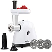 Ivation Electric Meat Grinder Mincer & Sausage Stuffer, Upgraded Metal Gear System, Accessory Kit with Grinding Plates, Sausage Stuffing Tubes & Kibbe Attachments