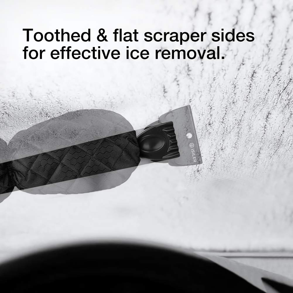 Car Windshield Snow Scraper Mitten with Durable Handle Waterproof Snow Remover Glove with Warm Thick Soft Fleece ISILER Ice Scraper Mitt
