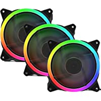 upHere 120mm Case Fan Rainbow LED Silent Fan for Computer Cases, CPU Coolers,Water Cooler and Radiators Ultra Quiet,3…