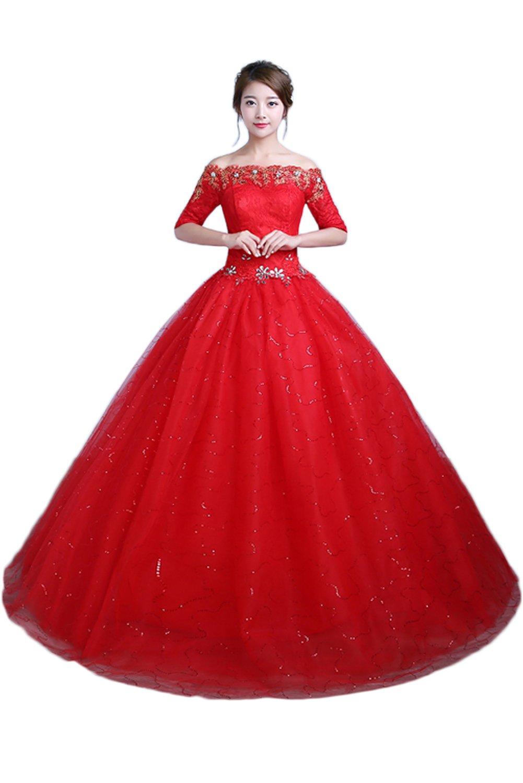 (ウィーン ブライド)Vienna Bride ウェディングドレス 花嫁ドレス ふんわりとする裾 お姫様 プリンセス カラードレス 赤色 レース 背中に編み上げ 花嫁介添え 結婚式 披露宴 B071V7T5MX 29W|レッドS レッドS 29W