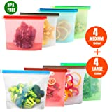 7 Trees Reusable Silicone Food Storage Bag, Ziplock Seal Bags Leakproof Preservation Food Containers for Lunch Meat Liquid Fruits Vegetables