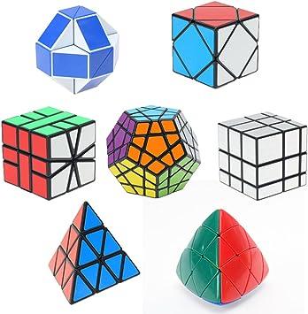 HJXDtech- Shengshou 7 Pack Cubos mágicos Conjunto de Cubo de Espejo megaminx pyraminx Square-1 Skewb Mastermorphix y 24 Rompecabezas de ...: Amazon.es: Juguetes y juegos