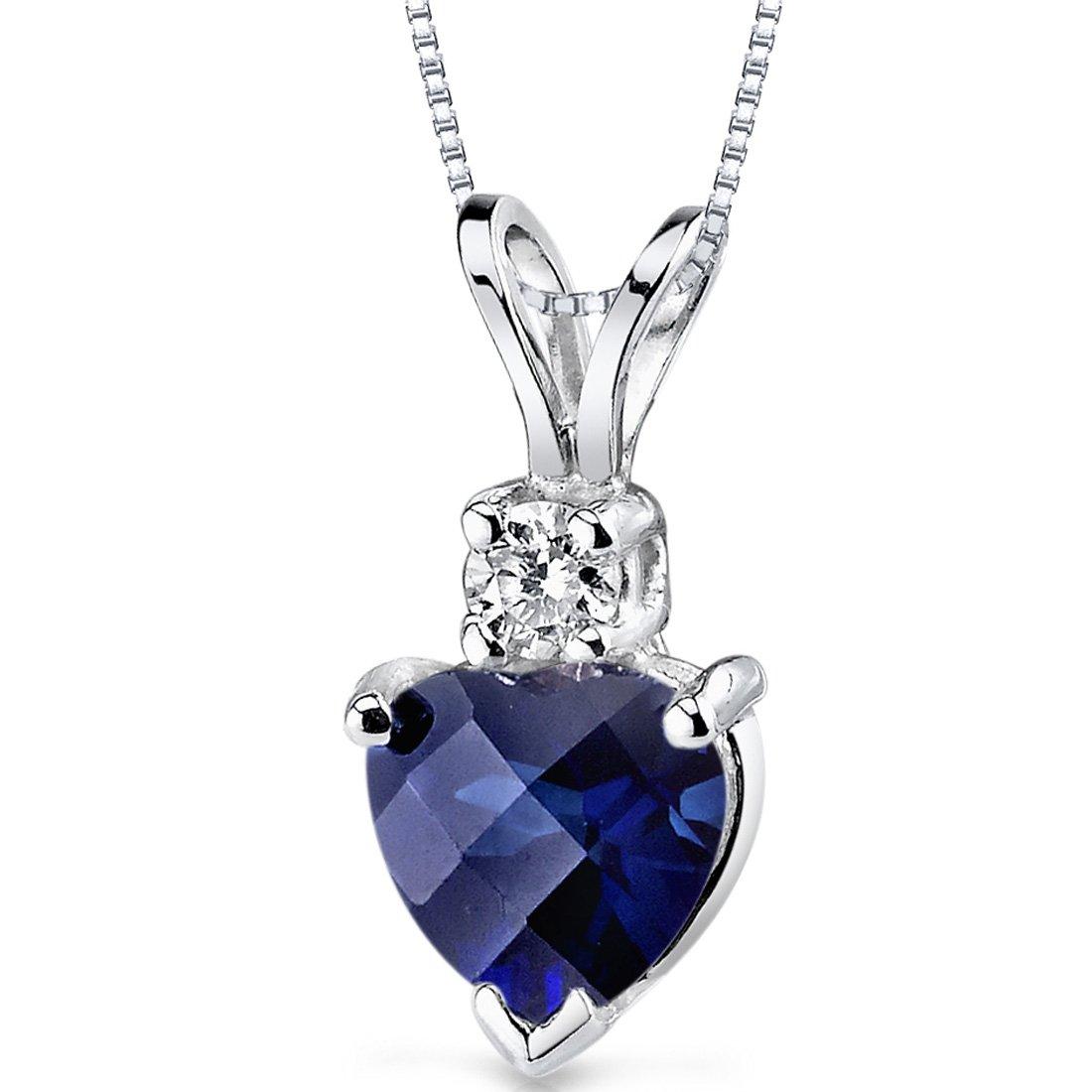 14 Karat White Gold Heart Shape 1.00 Carats Created Blue Sapphire Diamond Pendant by Peora