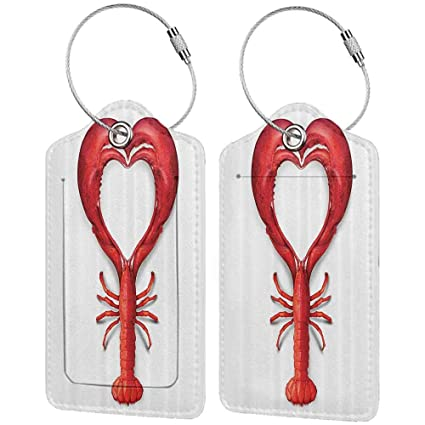 3073ec92b63e Amazon.com | Small luggage tag Sea Animals Decor A Boiled Lobster ...