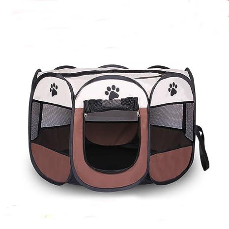 Cipway Jaula Plegable portátil Parque para Perrera para Gatos Cachorros (M, Marrón)
