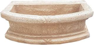 MONDO ARTISTICA Lavello lavabo lavandino vasca senza gocciolatoio in cemento e polvere di marmo per esterni da giardino Misura 70X42X24 rosa sfumato made in italy
