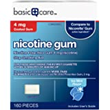 Amazon Basic Care Nicotine Polacrilex Coated Gum 4 mg (nicotine), Ice Mint Flavor, Stop Smoking Aid; quit smoking with…