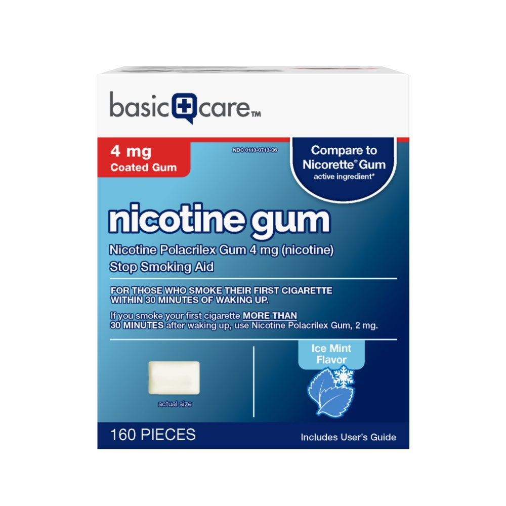 Basic Care Nicotine Gum, 4mg, Ice Mint Flavor, 160 Count