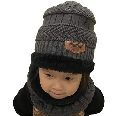 db7dac737c0 UMIPUBO Echarpe et Bonnet Enfants Unisexe Tricoté Beanie Hiver Chaud  Doublure en Polaire Epais Echarpe Chapeaux (gris)  Amazon.fr  Vêtements et  accessoires