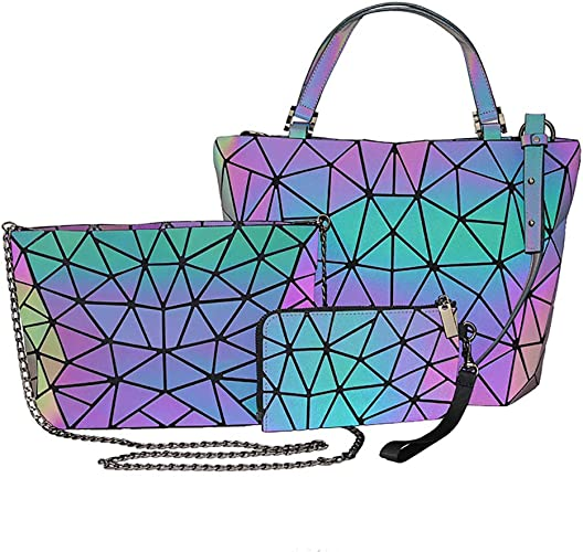 Leikance PU Geometric Luminous Handbag,Shoulder Bag Crossbody Bag for Women Holographic Reflective Bag Set
