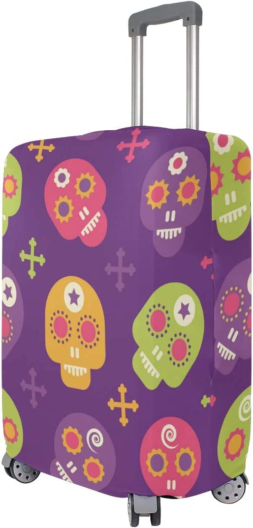 FOLPPLY Cute Sugar Skull Luggage Cover Baggage Suitcase Travel Protector Fit for 18-32 Inch