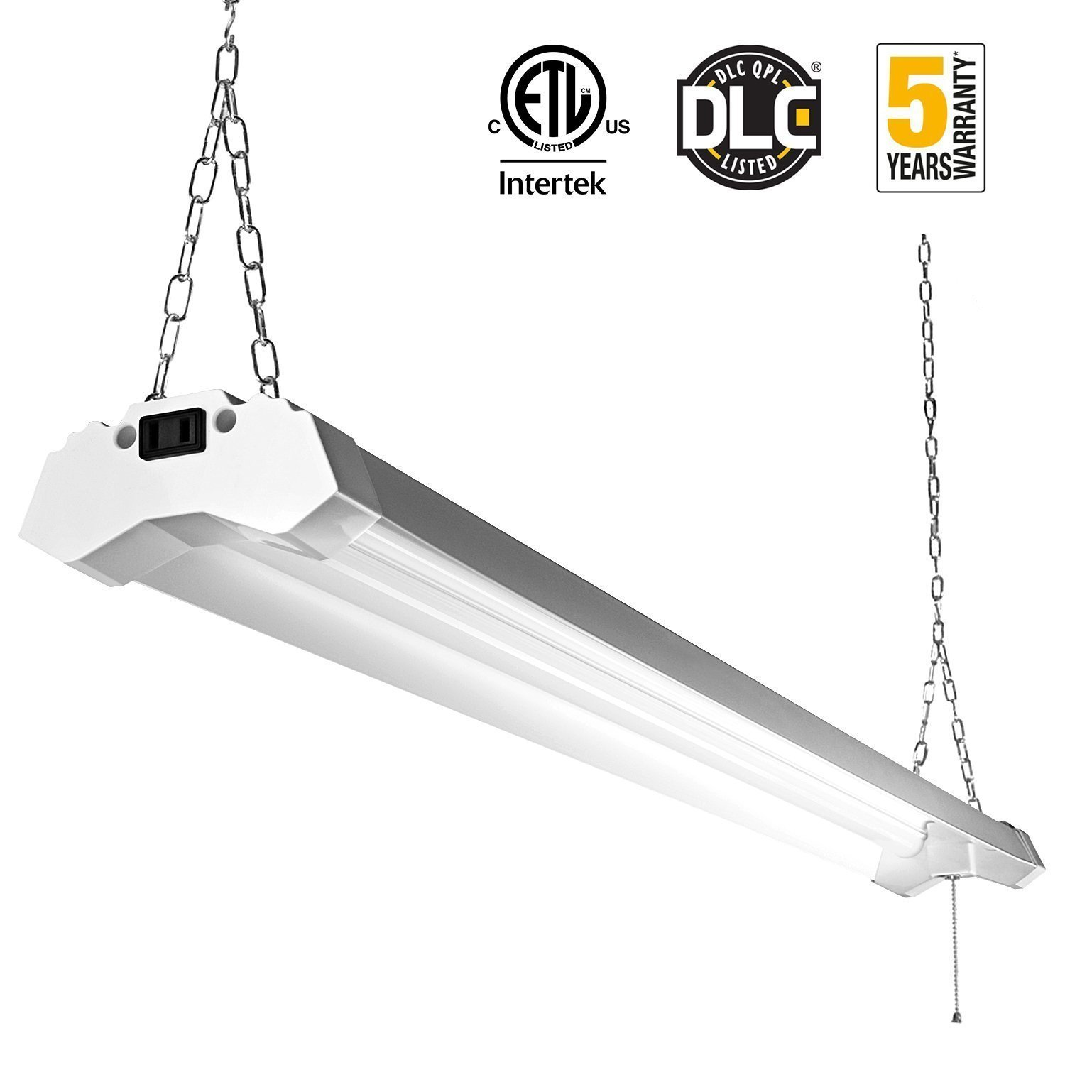 Linkable led utility shop light 4ft 4800 lumens super bright 40w linkable led utility shop light 4ft 4800 lumens super bright 40w 5000k daylight etl certified led garage lights fixture durable led fixture with pull chain arubaitofo Choice Image