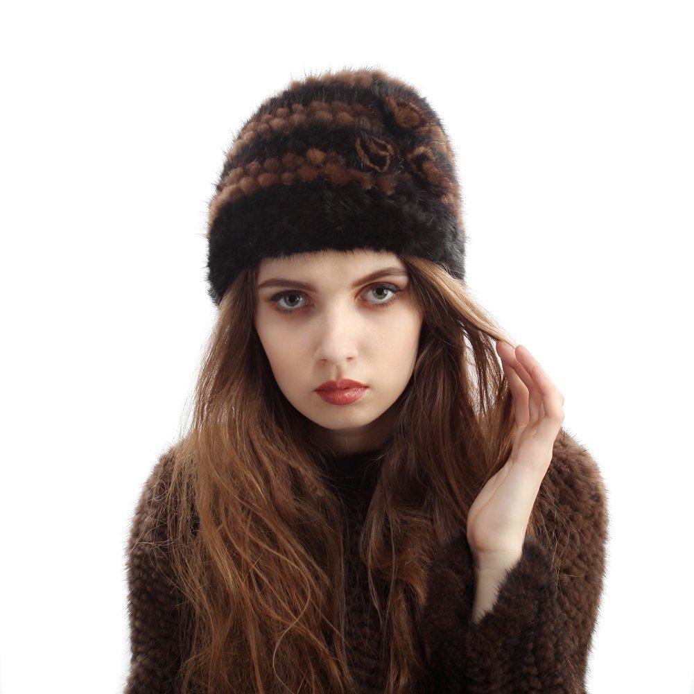 Bellefur Women's 100% Real Genuine Mink Fur Knitted Hat