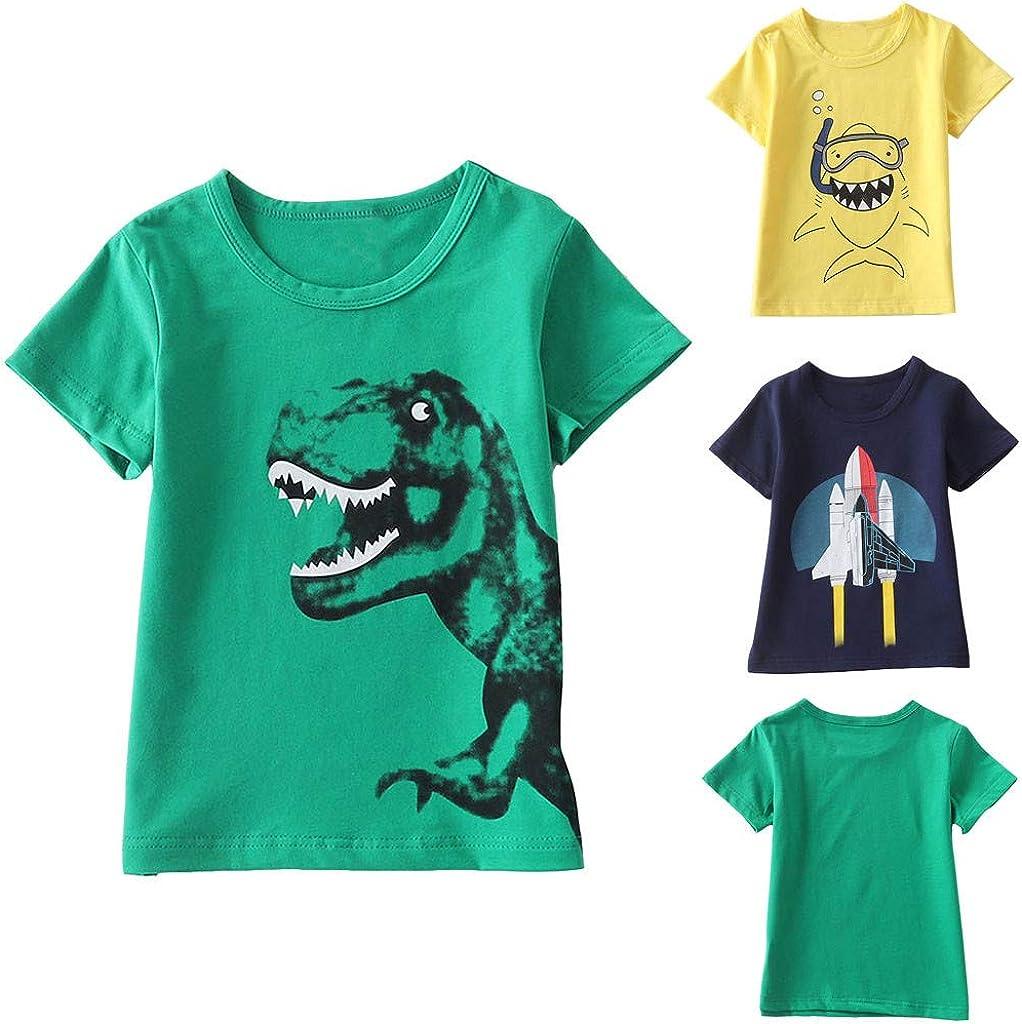 KASSD Baby Boy Short Sleeve Tops Children Cartoon Shark Dinosaur Tops T-Shirt Blouse Girls