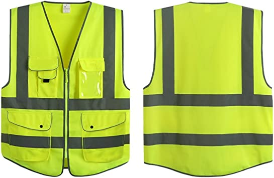 LOT of 5 Neon Green-ANSI Safety Vests